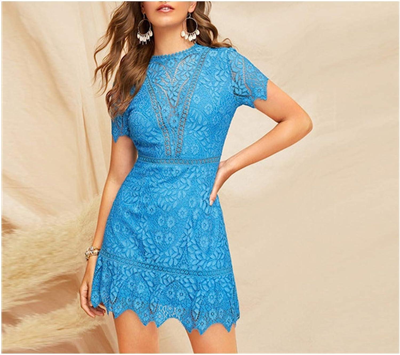 bluee Open Back Guipure Lace Short Dress Summer Women Round Neck A Line High Waist Elegant Dresses