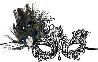 Success Creations Aloma Laser-Cut Metal Black Venetian Women's Masquerade Mask w/Peacock Feathers