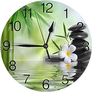 Cy-ril Spa Zen Pierres De Basalte en Bambou Horloge Murale Ronde Silencieuse Non Ticking À Piles Facile À Lire La Maison D...