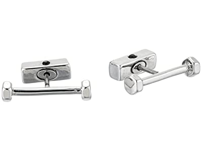 AllSaints Hex Bar Stud Earrings (Rhodium) Earring