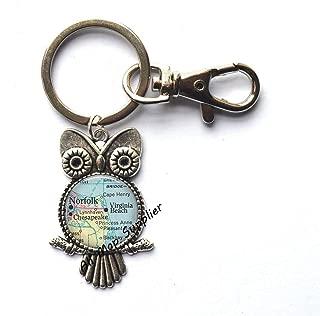 Charming Owl Keychain,Norfolk,Virginia Fashion map Owl Key Ring,Virginia Beach map Owl Keychain,Norfolk map Owl Key Ring,map Jewelry,A0220 (1)