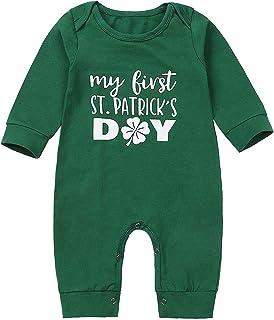 My First St.Patrick's Day Newborn Baby Boys Girls Romper Green Long Sleeve Jumpsuit Bodysuit
