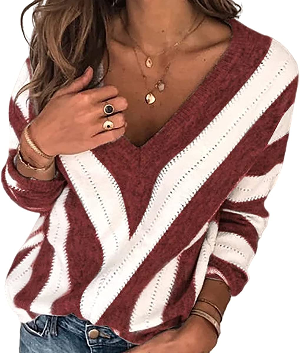 Store domirica Women's V-Neck Long Sleeve online shopping Knitted Loos Striped Sweater