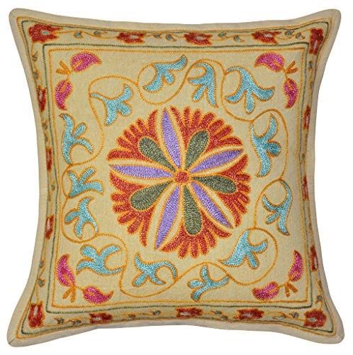Funda algodón bordado Suzani Indian cojín hecho a mano funda para cojín diseño de 40 x 40 cm