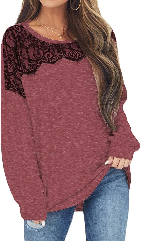 Naggoo Womens Long Sleeve Tunic Tops Lace Batwing Casual Loose Tee Shirts