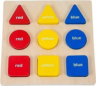 GHIFANT bloques de madera geométricos 3 formas 3 colores 9 piezas Set educativo juguetes forma tabla de sorter Puzzles de madera para niños