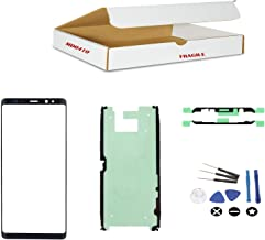 (md0410) Black front outer glass lens replacement Compatible Galaxy Note 8 + Adhesive + Tools Kit N950 N950U N950W N950FD N950F (LCD Digitizer screen not included)