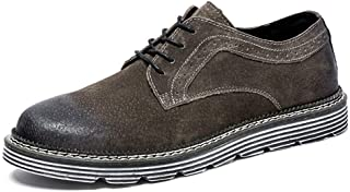 Ranipobo Boots for Men Genuine Leather Comfortable Breathable Business Fashion Loafers Low Top Anti-Slip Flat Lace Up Round for Men (Color : Dark-Coffee, Size : 6.5 UK)