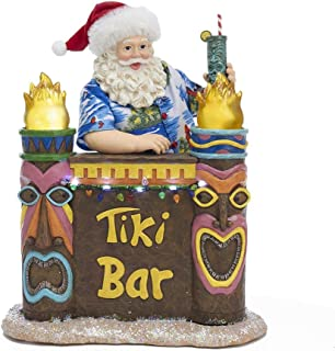 Kurt Adler FA0118 11.5-inch Battery-Operated Fabriché Lighted Tiki Bar Beach Santa