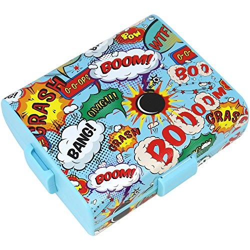 com-four® Brotdose im Comic-Design für unterwegs - Lunchbox mit Trennwänden - Frühstücksbox 19,5 x 17,5 x 6,5 cm (01 Stück - Comic)