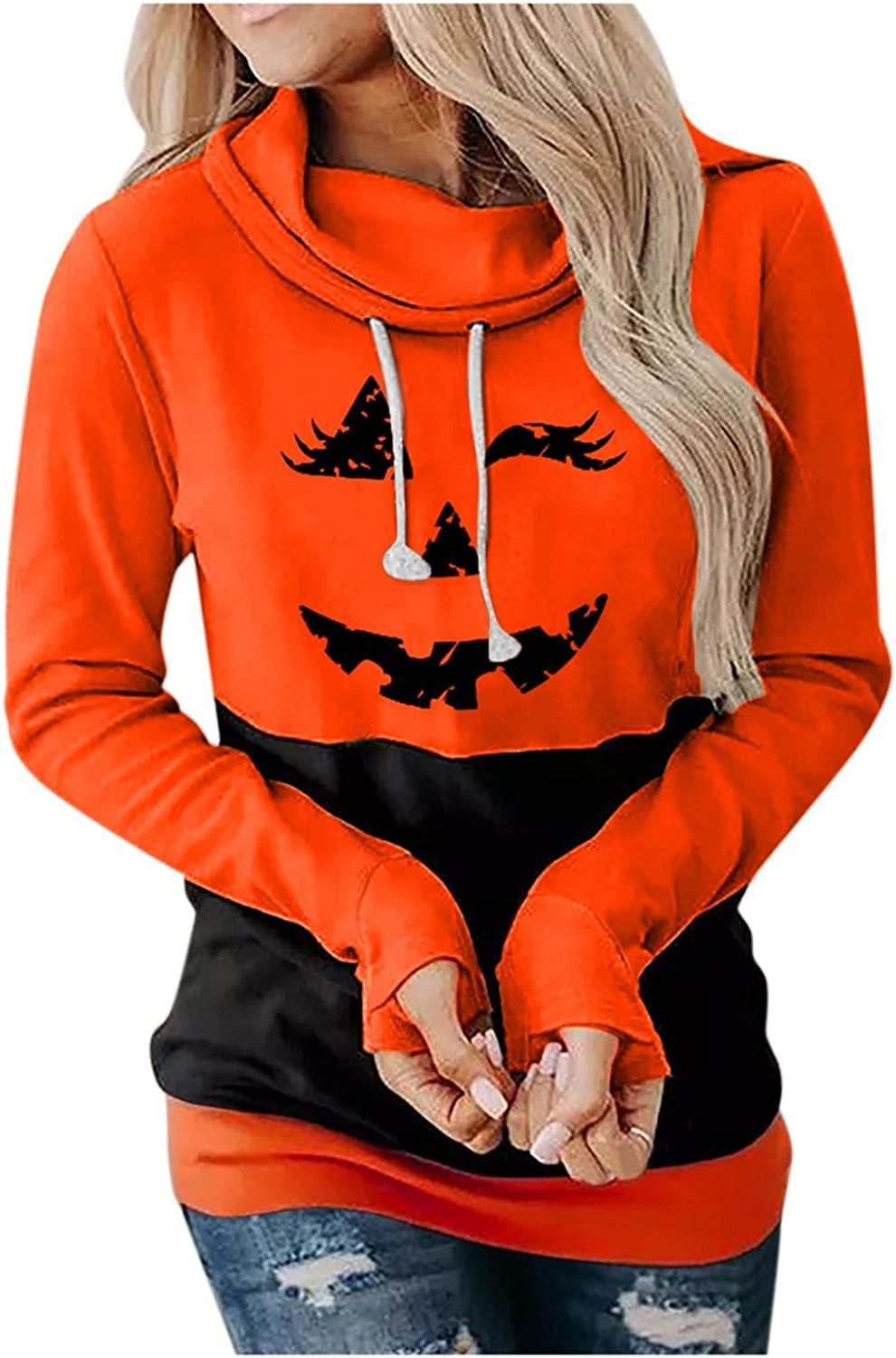 Halloween Sweatshirts for Women Funny Pumpkin Hoodies Pullover Round Neck Long Sleeve Sweaters Casual Drawstring Blouse