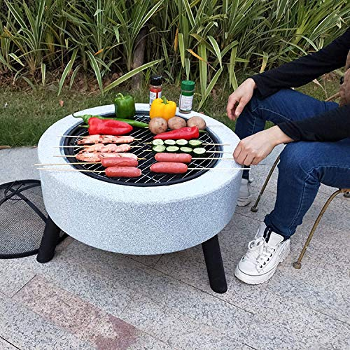 MNSSRN Courtyard Grill Heating Stove, Charcoal Outdoor Grilling Stove BBQ Grill/Fire Pit, Dining Table, Garden Heater Bowl, Multi-Purpose Smoked Grill