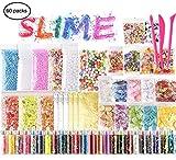 KUUQA 61 pcs Slime Kit, einschließlich Fishbowl-Perlen, Zuckerpapier, Gitter, Googly-Augen, Shell, Scheiben, Konfetti, Schleimschaumperlen, Imitation von Blattgold