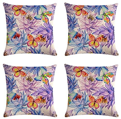 JOVEGSRVA Juego de 4 fundas de cojín de flores de mariposa, impermeables, para patio, jardín, banco, sala de estar, sofá, decoración de 45 x 45 cm