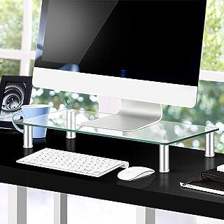 Artiss Monitor Stand Riser Computer TV Laptop Screen Desktop Tempered Glass Display Shelf Clear w/Aluminium Adjustable Leg...