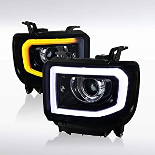 Autozensation For GMC Sierra 1500 2500 3500HD SLT SLE Pickup Glossy Black Halo Projector Headlights Head Lamps Pair