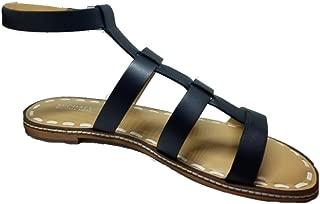 Fallon Flat Leather Sandal, Admiral/Optic White