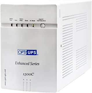OPTI-UPS ES1500C Enhanced Series 8-Outlet Line Interactive Uninterruptible Power Supply (980W, 1400VA) UPS Backup Battery RS232 Port, Automatic Voltage Regulator AVR