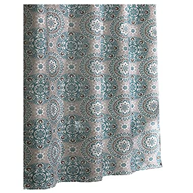 Ex-Cell Carthe Fabric Shower Curtain, 70 by 72-Inch, Turquoise