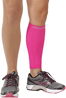 Zensah Calf/Shin Splint Compression Sleeve (singe sleeve), Neon Pink, X-Small/Small