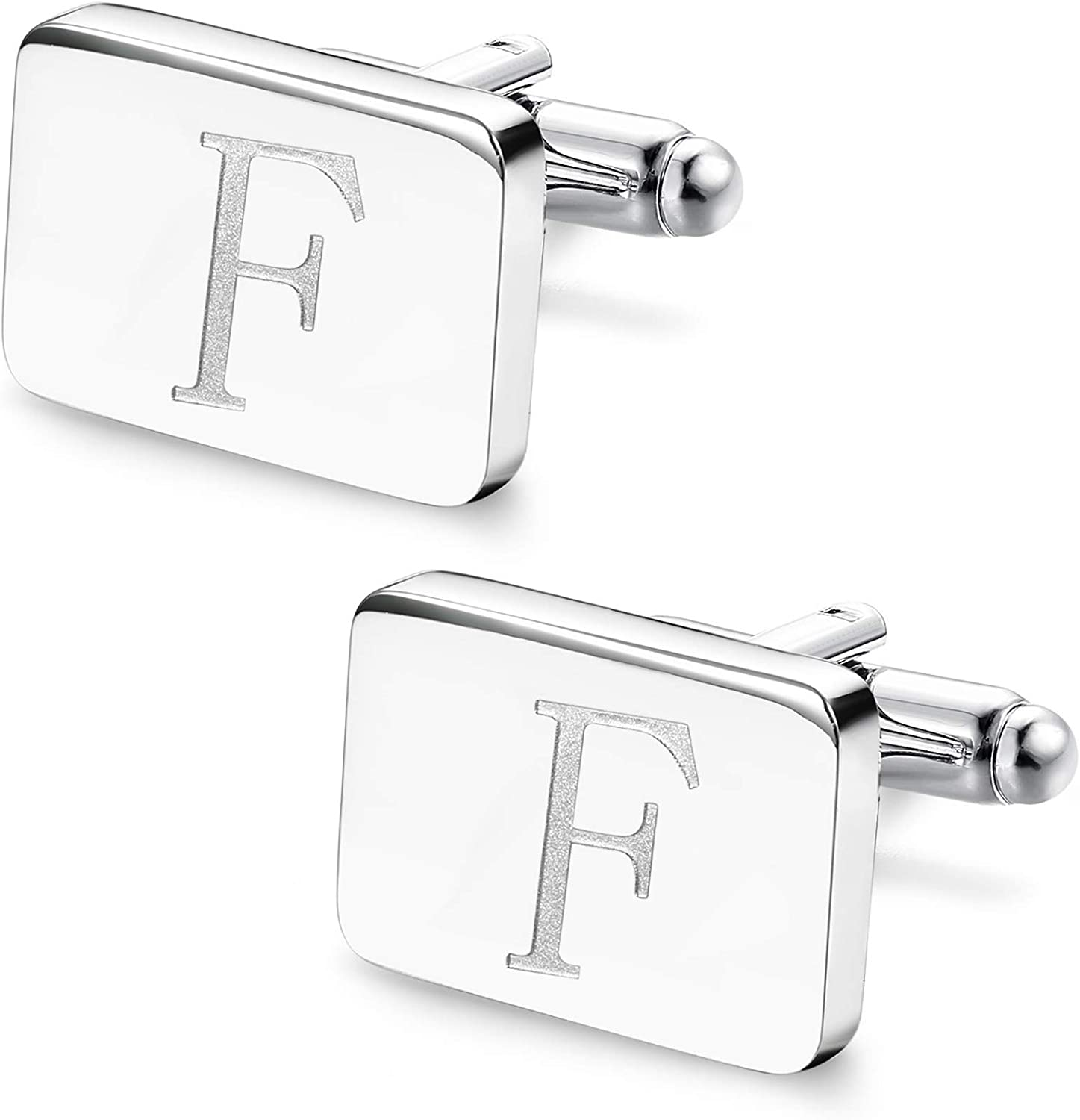 Ranking TOP3 All items free shipping ORAZIO Initial Engraved Cufflinks for Women Stainless Steel Men