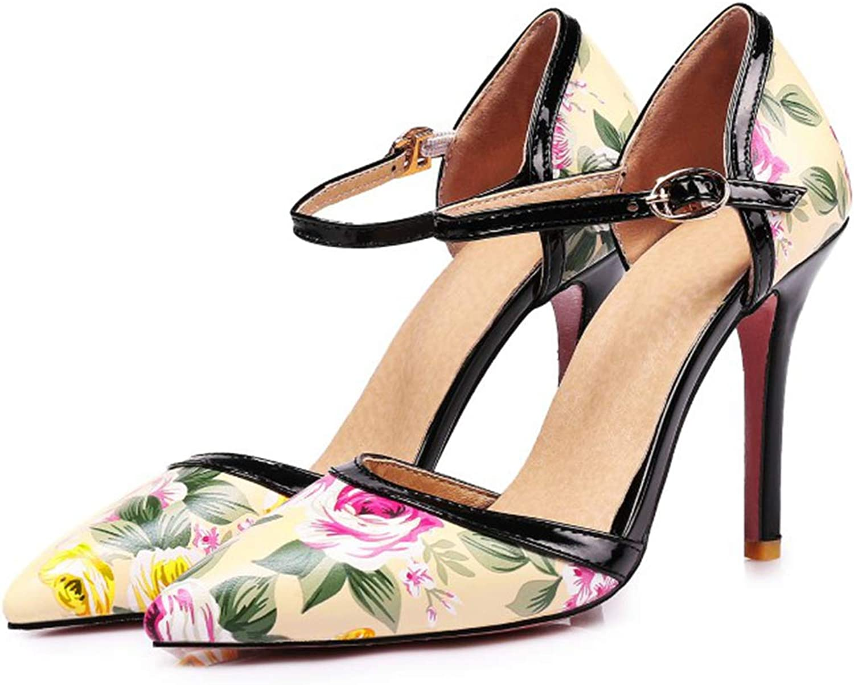 Owen Moll Women Pumps, Elegant Shallow High Heel Floral Print Buckle Party Dress shoes