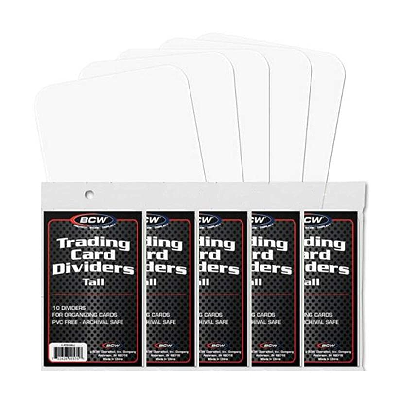 NEW BCW TALL TRADING CARD DIVIDERS PACK OF 50