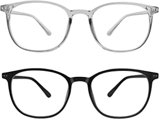 Blue Light Blocking Glasses,Anti Eyestrain Minimize Headache TR90 Frame Lightweight,Men/Women (Black&Gray)