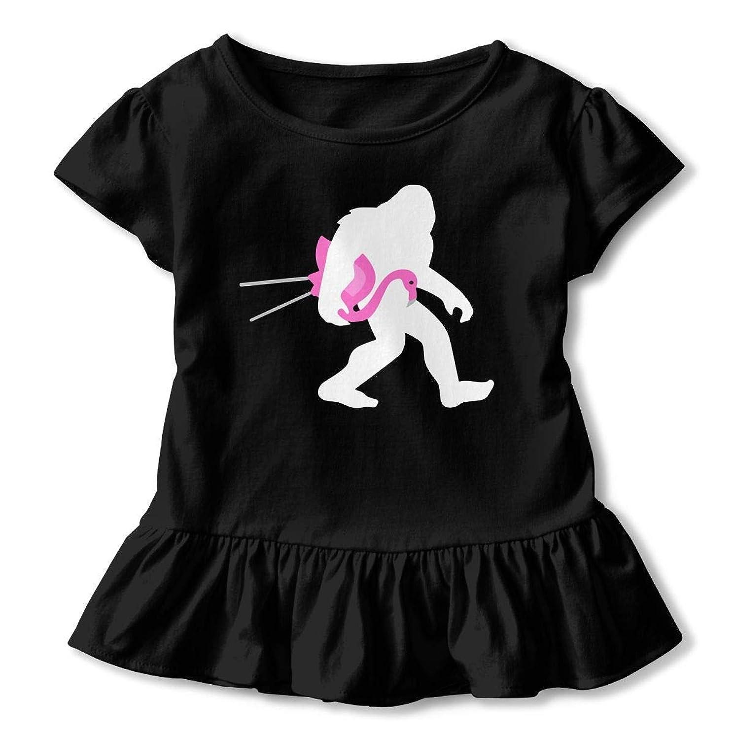 SDHEIJKY Bigfoot and Lawn Flamingo Toddler/Infant Girls Short Sleeve Shirts Ruffles Shirt T-Shirt for 2-6T