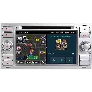 Sistema Android 9.1,Reproductor de DVD,Bluetooth,Enlace Espejo,WiFi,c/ámara de Respaldo,USB Radio Est/éreo Coche Autoradio para Ford Focus Kuga S-MAX Fiesta Galaxy,Pantalla t/áctil HD de 7 Pulgadas