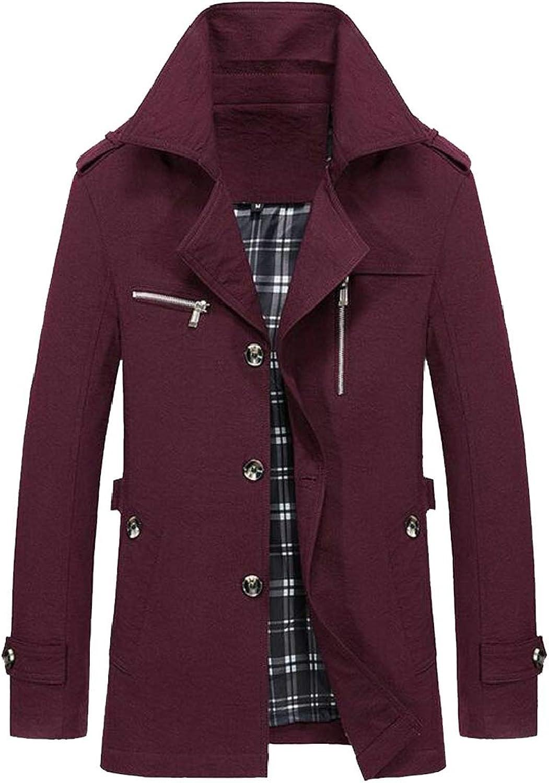 7f594c66832 Pandapang-CA Men Outwear Jacket Zipper Front Stylish Lapel Button-Down  Trench Coat 4acc34