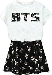 (XX-Large, White) - BTS Suga Jin Jimin Jung Kook Printed T-Shirt + Floral Skirt Two Piece Suit