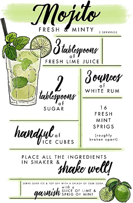 Amazon Com Mojito Cocktail Recipe 12x18 Art Print Wall Decor Travel Poster Wall Art