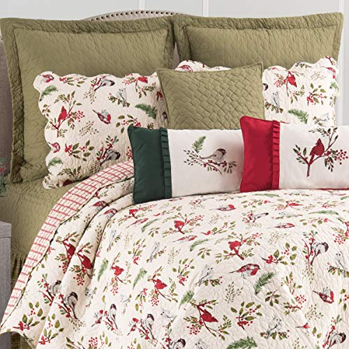 C&F Home Sprig Birds Holiday Christmas Cardinal Chickadee Holly Full/Machine Washable Reversible Queen Cotton Quilt Set Full/Queen 3 Piece Set Green