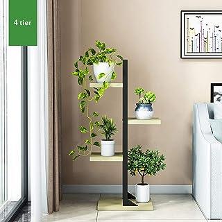 HTTSC 4 Tier 6 Tier Wooden Metal Plant Stand Flower Rack Display Ladder Shelf for Indoor Outdoor Balcony Home Decoration (...