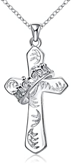 Best cross with crown necklace Reviews