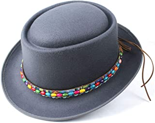 LiJuan Shen Fashion Men Women Winter Pork Pie Hat Dad Wool Fedora Hat Lady Flat Hat Porkpie Church Fascinator Hat Size 58CM