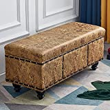 Banco de almacenamiento retro grande, baúl de juguetes, taburete rectangular de cuero de imitación de 40 pulgadas, taburete de reposapiés en la cama, banco de cambio de zapatos en l(Color:Amarillo)