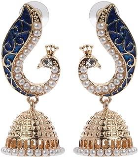 Earrings, Retro Indian Bollywood Kundan Peacock Jhumka Jhumki Drop Earrings Gypsy Jewelry Purple