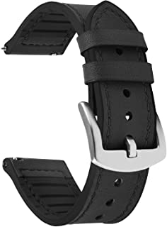 Fullmosa Quick Release Watch Band 22mm 20mm, Leather Silicone Hybrid Wacth Bands for Samsung Galaxy Watch/Huawei Watch/Gar...