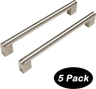 5 pack 192mm(7-1/2inch) Hole Centers Diameter 14mm Stainless Steel Boss Bar Kitchen Cabinet Door Handles and Pulls Cabinet Knobs Length 229mm(9.16inch) Brushed Nickel
