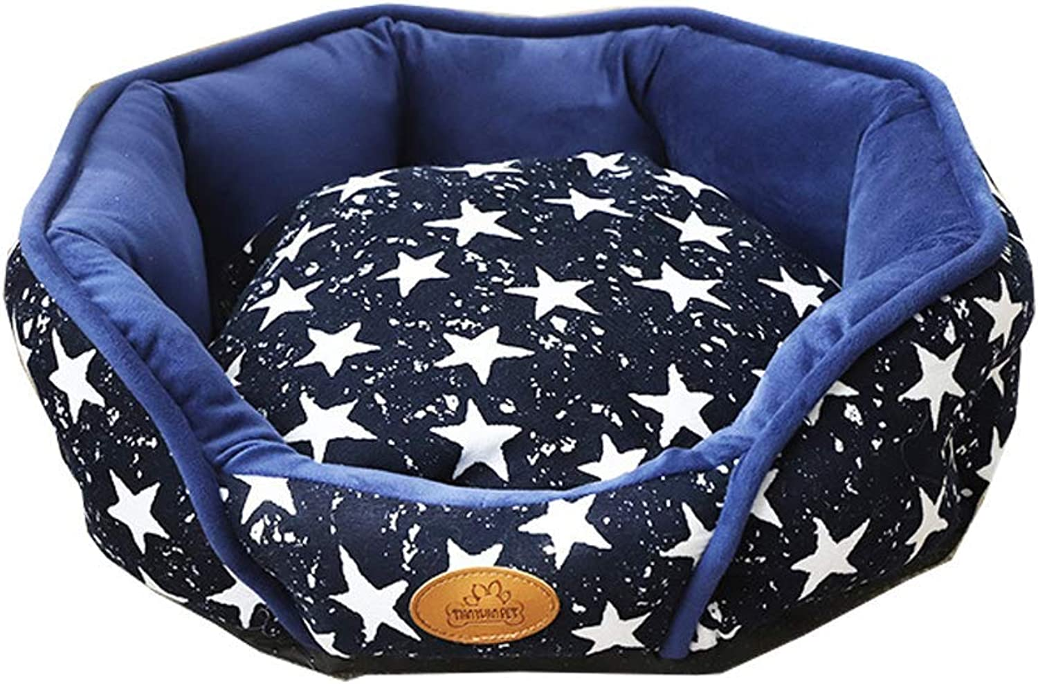 Premium Dog's Bed, Round Pet Bed Memory Foam Pillow Top Reversible Cat and Dog Bed with Removable (color   bluee, Size   L)