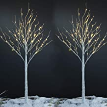 LIGHTSHARE 6 Feet Birch Tree, 72 LED Lights, Warm White, for Home,Set of 2, Festival, Party, and Christmas Decoration, Ind...