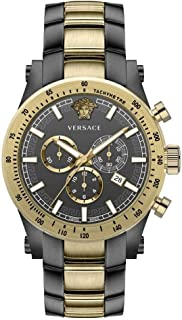 Chronograph Mens Watch Swiss Made Sapphire Crystal Grey/Gold