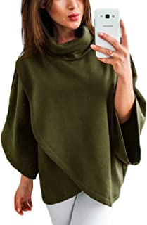 Cardigans Turtleneck Poncho for Women Chimney Collar Flared 3/4 Sleeves Irregular Hem Outwear Capes Sweaters