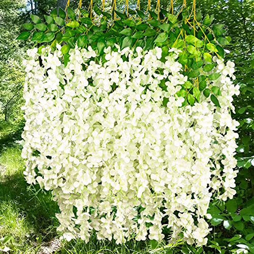 NITAIUN 12 Piezas Artificiales Flores Wisteria, Artificiales de Glicina Falsas Planta de Guirnalda...