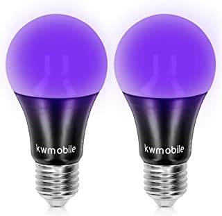 kwmobile Set de 2 Bombillas LED E27 de luz negra - Bombilla Led ultravioleta con efecto fluorescente - Pack de 2 7W