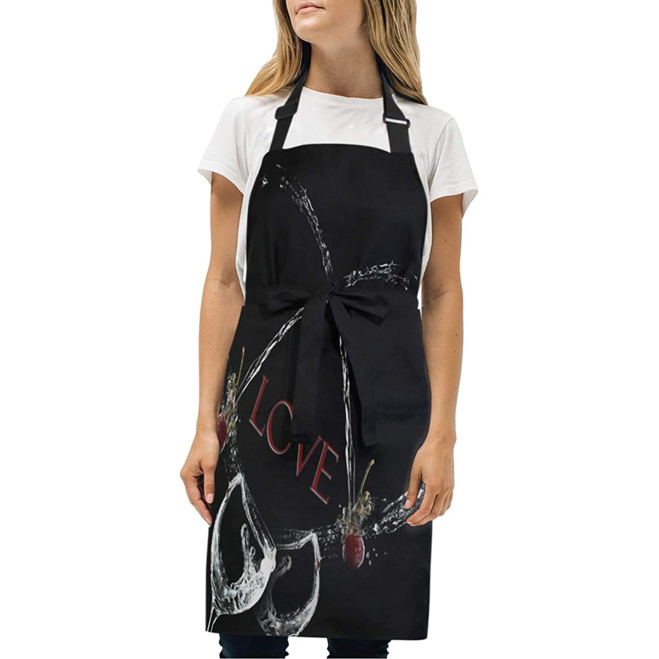 Womens Aprons Love Wallpaper Kitchen Bib Aprons with Pockets Adjustable Buckle on Neck