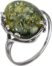 HolidayGiftShops Sterling Silver and Baltic Green Amber Ring Dana