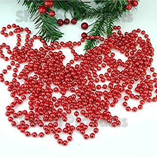 U-House 31 Feet Christmas Beaded Garland Shiny Beads Strand for Christmas Tree, Valentine, Exhibition, Wedding, Costume, DIY Decoration (Red-31ft)